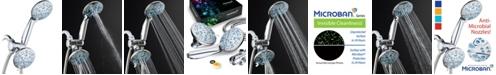 Aquadance Antimicrobial 30-setting Shower Combo, Aqua Blue Jets
