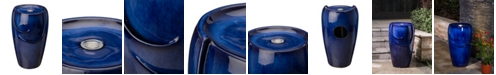 Glitzhome Cobalt Outdoor Fountain with Pump and LED Light