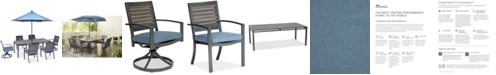 """Furniture Harlough II 7-Pc. Outdoor Dining Set (84"""" x 42"""" Dining Table, 4 Dining Chairs and 2 Swivel Rockers) with Sunbrella® Cushions, Created for Macy's"""