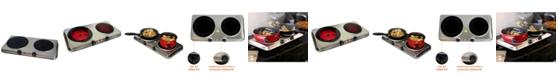 MegaChef Electric Easily Portable Heavy Duty Lightweight Dual Size Infrared Burner Cooktop Buffet Range in Sleek Steel