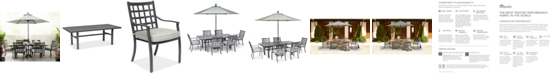 """Furniture Highland Outdoor 7-Pc. Dining Set (84"""" x 42"""" Dining Table and 6 Dining Chairs) with Sunbrella® Cushions, Created for Macy's"""