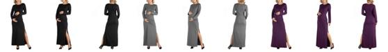 24seven Comfort Apparel Form Fitting Long Sleeve Side Slit Maternity Maxi Dress