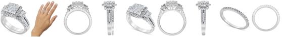 Macy's Diamond (1-1/2 ct. t.w.) Square Halo Bridal Set in 14K White Gold