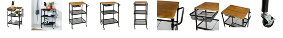 """Honey Can Do 36"""" Kitchen Cart with Wheels, Storage Drawer and Handle"""