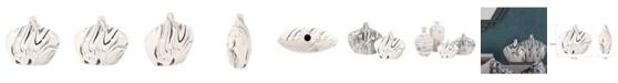 Howard Elliott Porcelain Oblong White and Black Swirl Vase, Small