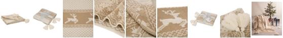 Glitzhome Knitted Lurex Throw Blanket with Tassels