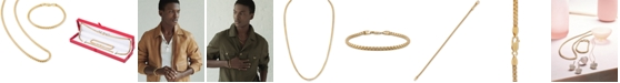 """Esquire Men's Jewelry 2-Pc. Set Box Link 22"""" Chain Necklace and Bracelet in 14k Gold-Plated Sterling Silver, Created for Macy's (Also available in Sterling Silver)"""