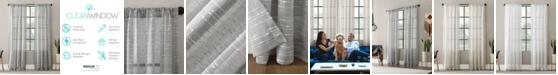 "Clean Window Textured Slub Stripe Anti-Dust Curtain Panel, 52"" x 63"""