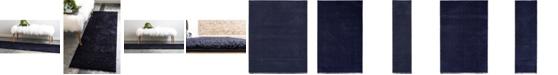 Bridgeport Home Salon Solid Shag Sss1 Midnight Blue Area Rug Collection