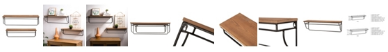 Glitzhome Farmhouse Metal and Wooden Wall Shelves, Set of 2