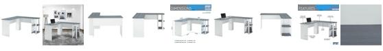 RTA Products Techni Mobili Modern L-Shaped Desk w/ Side Shelves