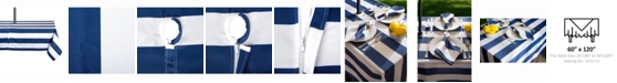 """Design Imports Nautical Blue Cabana Stripe Outdoor Table cloth with Zipper 60"""" X 120"""""""