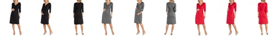 24seven Comfort Apparel Three Quarter Sleeve Knee Length Maternity Wrap Dress