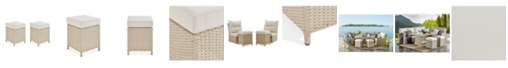 Alaterre Furniture Canaan All-Weather Wicker Outdoor Square Stools with Cushions Set