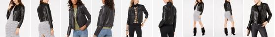 Michael Kors Leather Moto Jacket, Regular & Petite Sizes