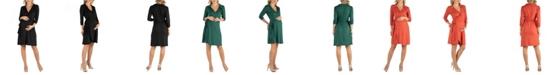 24seven Comfort Apparel Knee Length Collared Maternity Wrap Dress