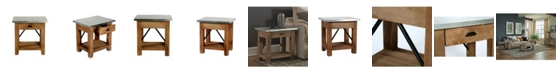 Alaterre Furniture Millwork Wood and Zinc Metal End Table with Drawer