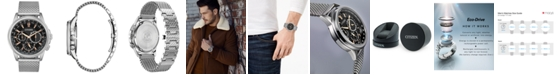 Citizen Eco-Drive Men's Calendrier Stainless Steel Mesh Bracelet Watch 44mm