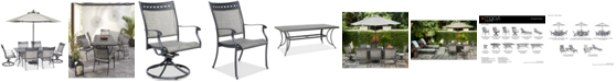 """Furniture Vintage II Outdoor Cast Aluminum 7-Pc. Dining Set (72"""" x 38"""" Table, 4 Sling Dining Chairs & 2 Sling Swivel Chairs), Created for Macy's"""