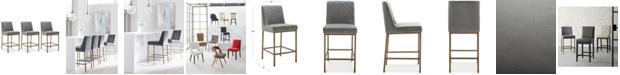 Furniture Cambridge Velvet Stool, 3-Pc. Set (3 Grey Counter Stools)