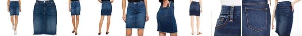 JEN7 Frayed-Hem Denim Skirt