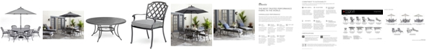 """Furniture Vintage II Outdoor Cast Aluminum 7-Pc. Dining Set (61"""" Round Table & 6 Dining Chairs) With Sunbrella® Cushions, Created for Macy's"""