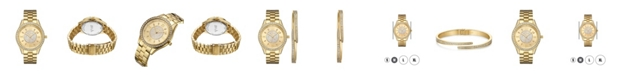 Jbw Women's Mondrian Jewelry Set Diamond (1/6 ct.t.w.) 18k Gold Plated Stainless Steel Watch