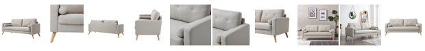 Ac Pacific Alvin Mid-Century Modern Button Tufted Polyester Sofa with Accent Pillow