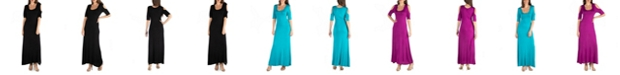 24seven Comfort Apparel Half Sleeve Open Shoulder Maxi Dress