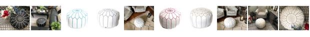 BeldiNest Moroccan Leather Pouf Round Ottoman
