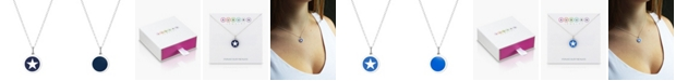 "Auburn Jewelry Mini Star Pendant Necklace in Sterling Silver and Enamel, 16"" + 2"" Extender"