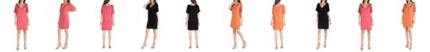 24seven Comfort Apparel Loose Fit T-Shirt Dress with V-Neck