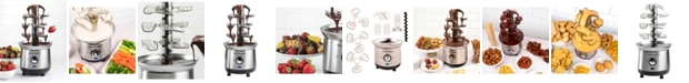 Nostalgia CFF1000 2-Pound Stainless Steel Cascading Fondue Fountain - Chocolate, BBQ Sauce, Ranch, Nacho Cheese, Buffalo Sauce