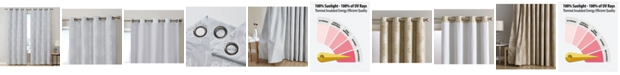 HLC.me Obscura by Newcastle Damask Flocked 100% Blackout Grommet Curtain Panels - 50 W x 84 L - Set of 2