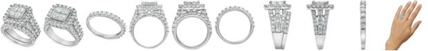 Macy's Diamond Princess Cluster Bridal Set (4 ct. t.w.) in 14k White Gold