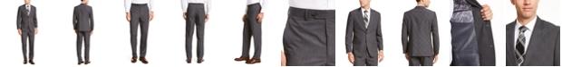 Nautica Men's Modern-Fit Bi-Stretch Dark Gray Plaid Suit