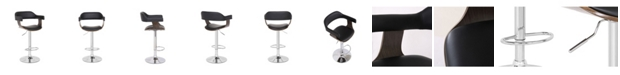 Ac Pacific Contemporary Swivel Adjustable Barstool with Padded Armrests