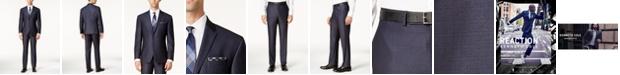Kenneth Cole Reaction Men's Ready Flex Slim-Fit Blue Textured Micro-Grid Suit