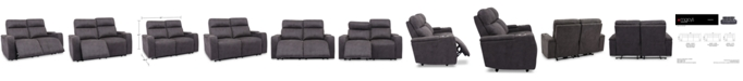 "Furniture CLOSEOUT! Oaklyn 61"" Fabric Loveseat With 2 Power Recliners, Power Headrests And USB Power Outlet"