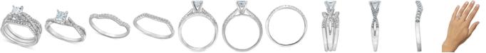 Macy's Diamond 3-Pc. Princess Bridal Set (1 ct. t.w.) in 14k White Gold