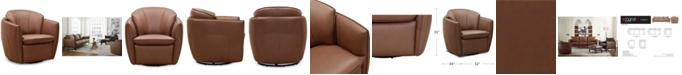 """Furniture Chanute 32"""" Leather Accent Chair, Created for Macy's"""