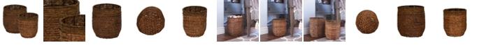 Household Essentials Rimmed Blended-Weave Wicker Baskets, Set of 2