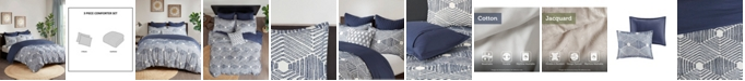 INK+IVY Ellipse 3-Piece Full/Queen Cotton Jacquard Comforter Set