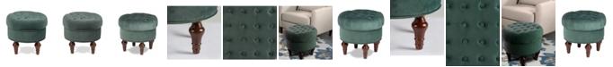 Clickhere2shop Home Living Room Wooden Leg Oculas Ottoman, Arabella Teal