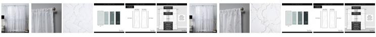"""Exclusive Home Nicole Miller Vanderbilt Metallic Print Sheer Rod Pocket Top 54"""" X 84"""" Curtain Panel Pair"""