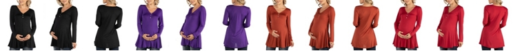 24seven Comfort Apparel Flared Long Sleeve Henley Maternity Top