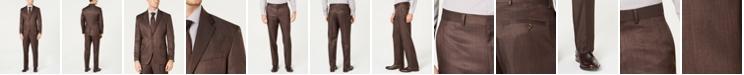 Dockers Men's Modern-Fit Stretch Brown Sharkskin Suit