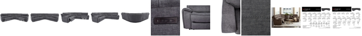 Furniture Hutchenson 5-Pc. Fabric Sectional with 2 Power Recliners and Power Headrests
