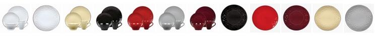 Lorren Home Trends 16 Piece Stoneware Scroll Dinnerware Set, Service for 4