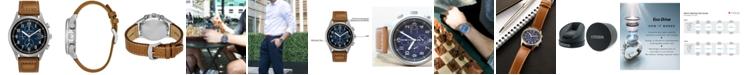 Citizen Men's Eco-Drive Chronograph Brown Leather Strap Watch 42mm CA0621-05L